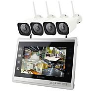 Χαμηλού Κόστους Yan Se-4ch ασύρματο κιτ nvr 12.5 ιντσών οθόνη 4pcs ip κάμερα 960p αδιάβροχο σύστημα ασφαλείας νυχτερινής όρασης