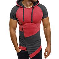 男性用 スポーツ プラスサイズ Tシャツ 活発的 フード付き スリム カラーブロック コットン