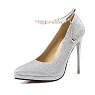 baratos Sapatos Femininos-Mulheres Sapatos Glitter / Paetês Primavera / Verão Plataforma Básica Saltos Salto Agulha Dedo Apontado Preto / Prata / Cinzento