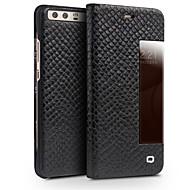 billiga Mobil cases & Skärmskydd-fodral Till Huawei P10 Plus Stötsäker Auto Sömn/Uppvakning Fodral Ensfärgat Hårt Äkta Läder för P10 Plus