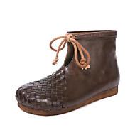 baratos Sapatos Femininos-Mulheres Sapatos Pele Outono / Inverno Curta / Ankle Botas Sem Salto Ponta Redonda Botas Curtas / Ankle Laço Preto / Café