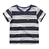 Para Meninos Diário Listrado Camiseta, Poliéster Primavera Verão Manga Curta Moda de Rua Azul Vermelho Azul Real