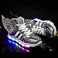 tanie Obuwie chłopięce-Dla chłopców Buty Syntetyczny Lato Jesień Świecące buty Tenisówki Szurowane na Atletyczny Casual Na wolnym powietrzu Gold Black Sliver