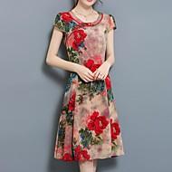 Damen Übergrössen Chinoiserie A-Linie Kleid Blumen Knielang