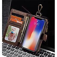 Θήκη Za Apple iPhone X iPhone 8 Utor za kartice Novčanik Otporno na trešnju Zaokret Korice Jedna barva Tvrdo prava koža za iPhone X