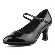 baratos Sapatilhas de Dança-Mulheres Sapatos de Dança Moderna Couro Sintético / Courino Salto Presilha Salto Cubano Personalizável Sapatos de Dança Preto