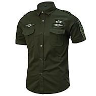 Klassisk krave Tynd Herre - Ensfarvet Bomuld, Basale Militær Plusstørrelser Skjorte / Kortærmet