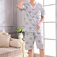 Muškarci Duboki V Odijelo Pidžama Cvjetni print