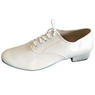 billige Kustomiserte dansesko-Herre Latin Moderne Standard sko Salsa Kunstlær Lær Høye hæler Innendørs Profesjonell Nybegynner Trening Tykk hæl Hvit Kan