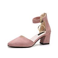 Mujer Zapatos Semicuero Verano Confort / Talón Descubierto / Suelas con luz Sandalias Tacón Cuadrado Punta cerrada Combinación Gris / 2w9m32WS5V