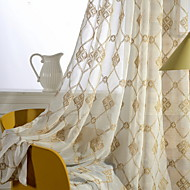 cheap Sheer Curtains-Embroidery Living Room Cotton/Polyester metal