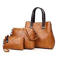 Χαμηλού Κόστους Σετ τσάντες-Γυναικεία Τσάντες PU Σετ τσάντα 3 σετ Σετ τσαντών Φερμουάρ Ανθισμένο Ροζ / Γκρίζο / Καφέ