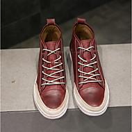 baratos Sapatos Masculinos-Homens Pele Outono / Inverno Conforto Tênis Preto / Vinho