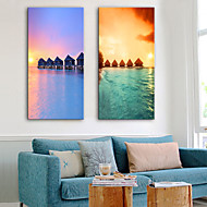 abordables Impresiones-Impresiones en Lienzo Estirado Modern, Dos Paneles Lona Vertical Estampado Decoración de pared Decoración hogareña