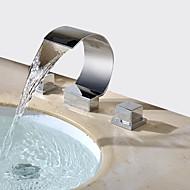 お買い得  割引蛇口-コンテンポラリー 組み合わせ式 滝状吐水タイプ 真鍮バルブ 二つのハンドル三穴 クロム, バスルームのシンクの蛇口