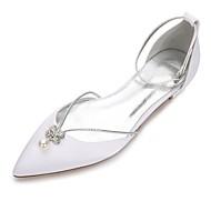 baratos Sapatos Femininos-Mulheres Sapatos Cetim Primavera / Verão Conforto / D'Orsay Sapatos De Casamento Sem Salto Pedrarias / Cristais / Laço Branco / Ivory