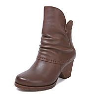 baratos Sapatos Femininos-Mulheres Pele Inverno Coturnos Botas Salto Robusto Ponta Redonda Botas Cano Médio Preto / Café