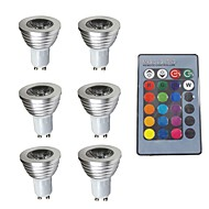 billige Spotlys med LED-6pcs 3W 280 lm GU10 LED-spotpærer 1 leds Mulighet for demping Dekorativ Fjernstyrt RGB 200-240V