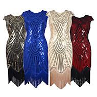 Χαμηλού Κόστους -Υπέροχος Γκάτσμπυ Δεκαετία του 1920 Στολές Γυναικεία Φορέματα Κοστούμι πάρτι Φανελάκι φόρεμα Κοκτέιλ Φόρεμα Μπεζ / Κόκκινο / Μπλε Πεπαλαιωμένο Cosplay Chinlon Νάιλον Αμάνικο Μέχρι το γόνατο / Πούλιες