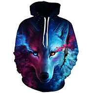 cheap Men's hoodies-Men's Plus Size Active Long Sleeve Loose Hoodie & Sweatshirt - 3D Print Wolf, Modern Style Hooded Blue XXL / Fall / Winter