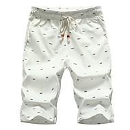 Homens Moda de Rua Diário Solto Shorts Calças - Estampado Básico Algodão Preto Vermelho Khaki XXXL XXXXL XXXXXL