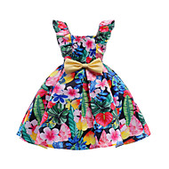 Girl's Daily Going out Floral Dress, Cotton Polyester Spring Summer Sleeveless Cute Active Rainbow
