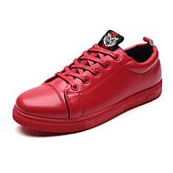 preiswerte -Herrn Schuhe Gummi Frühling Herbst Komfort Sneakers Schnürsenkel für Draussen Schwarz Rot