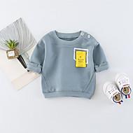billige Hættetrøjer og sweatshirts til babyer-Baby Unisex T-shirt Daglig Ensfarvet, Bomuld Forår Sommer Langærmet Simple Afslappet Orange Lyseblå