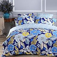 tanie Floral Duvet Okładki-Zestawy kołdra okładka Kwiaty 3 elementy Poly / Cotton 100% bawełna Reactive Drukuj Poly / Cotton 100% bawełna 1szt kołdrę 1szt Sham 1szt