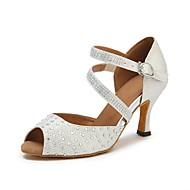 baratos Sapatilhas de Dança-Mulheres Sapatos de Dança Latina Courino Sandália / Salto Pedrarias Salto Personalizado Personalizável Sapatos de Dança Branco