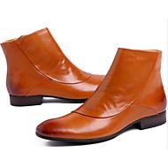 baratos Sapatos Masculinos-Homens Pele Napa / Pele Outono / Inverno Conforto / Coturnos Botas Botas Curtas / Ankle Preto / Castanho Claro
