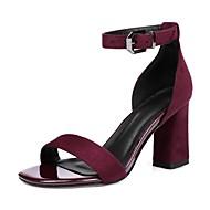 baratos Sapatos Femininos-Mulheres Sapatos Pele Nobuck Primavera / Verão Tira no Tornozelo Sandálias Salto Robusto Dedo Aberto Presilha Preto / Vinho