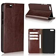 billiga Mobil cases & Skärmskydd-fodral Till Xiaomi Redmi not 5A Mi 6 Plus Korthållare Plånbok Stötsäker med stativ Fodral Ensfärgat Hårt Äkta Läder för Redmi Note 5A