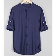 Stående krave Herre - Ensfarvet Hør, Basale Aktiv Skjorte