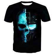 Rund hals Herre - Dødningehoveder Bomuld, Trykt mønster Basale T-shirt / Kortærmet