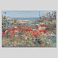 billiga Blom-/växtmålningar-Hang målad oljemålning HANDMÅLAD - Landskap Blommig / Botanisk Moderna Duk