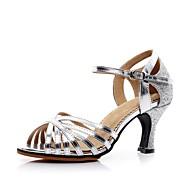 baratos Sapatilhas de Dança-Mulheres Sapatos de Dança Latina Courino Salto Salto Personalizado Personalizável Sapatos de Dança Dourado / Prata / Interior
