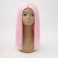 Prednja perika od sintetičkog čipke Ravan kroj Bob frizura Otporan na toplinu Pink Žene Lace Front Prirodna perika Kratko Sintentička kosa