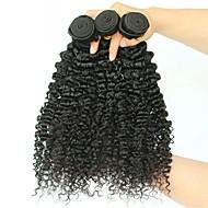 Brazilska kosa Kinky Curly Ekstenzije od ljudske kose 3 paketa 8-28inch Isprepliće ljudske kose proširenje / Rasprodaja Crna Sve