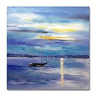 billiga Oljemålningar-styledecor® modern handmålade abstrakt båten i den blå bakgrunden oljemålningen på duk för väggkonst redo att hänga konst