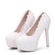 Žene Cipele PU Proljeće Jesen Inovativne cipele Udobne cipele Vjenčanje Cipele Stiletto potpetica Okrugli Toe Biser Cvijet od satena za