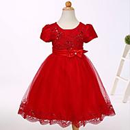 Baby Pigens Kjole Fest I-byen-tøj Ensfarvet, Bomuld Polyester Sommer Kortærmet Sødt Hvid Rød Lyserød