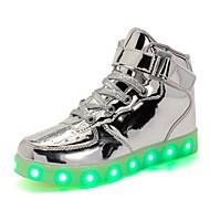 baratos Sapatos de Menino-Para Meninos / Para Meninas Sapatos Couro Ecológico Verão Tênis com LED Tênis LED para Branco / Preto / Prateado
