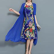Жен. Большие размеры На выход Шифон Из двух частей Платье - Цветочный принт, С принтом Средней длины Синий