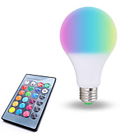 billige Globepærer med LED-1pc 10W 800lm E26 / E27 LED-globepærer 6 LED perler SMD 5050 Mulighet for demping Dekorativ Fjernstyrt RGB Hvit 85-265V