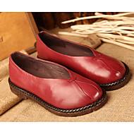 baratos Sapatos Femininos-Mulheres Sapatos Pele Napa / Pele Primavera / Outono Conforto Rasos Sem Salto Verde Tropa / Vinho / Khaki