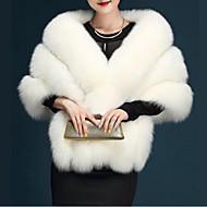 Mulheres Casaco de Pêlo Sólido, Pêlo Sintético Decote V