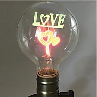 billige Glødelampe-1pc 2W E26/E27 G80 Varm hvit 2200-2800k K Kontor / Bedrift Dekorativ Glødende Vintage Edison lyspære 220V-240V