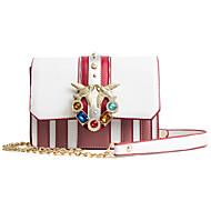 baratos Bolsas de Ombro-Mulheres Bolsas PU Leather Bolsa de Ombro Tachas Branco / Rosa