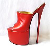 baratos Sapatos Femininos-Mulheres Sapatos Couro Ecológico Verão Plataforma Básica Saltos Salto Agulha Dedo Aberto Branco / Preto / Vermelho / Festas & Noite